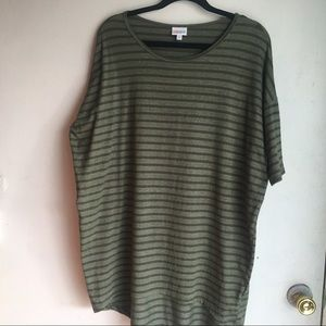 Lularoe Army Olive Green Striped Short Sleeve Top